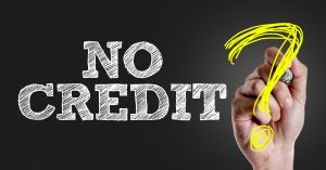 Hand writing the text: No Credit?