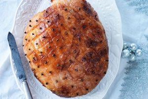Orange and five-spice glazed ham